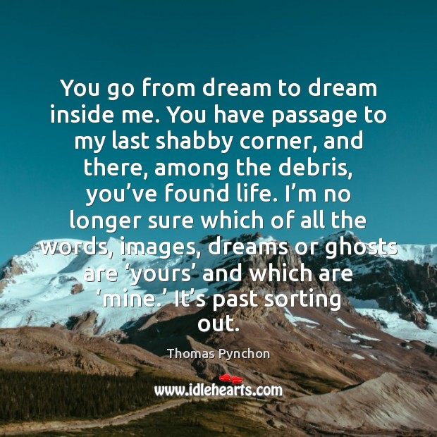 You go from dream to dream inside me. You have passage to Dream Quotes Image