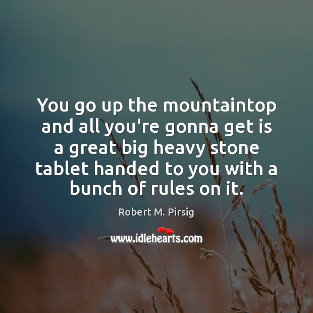 You go up the mountaintop and all you're gonna get is a Robert M. Pirsig Picture Quote