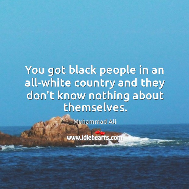 You got black people in an all-white country and they don't know nothing about themselves. Image