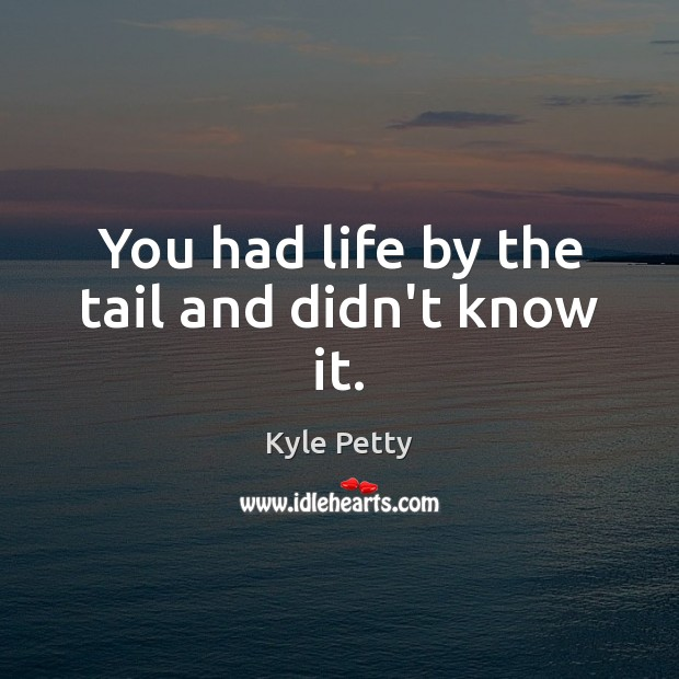 You had life by the tail and didn't know it. Image
