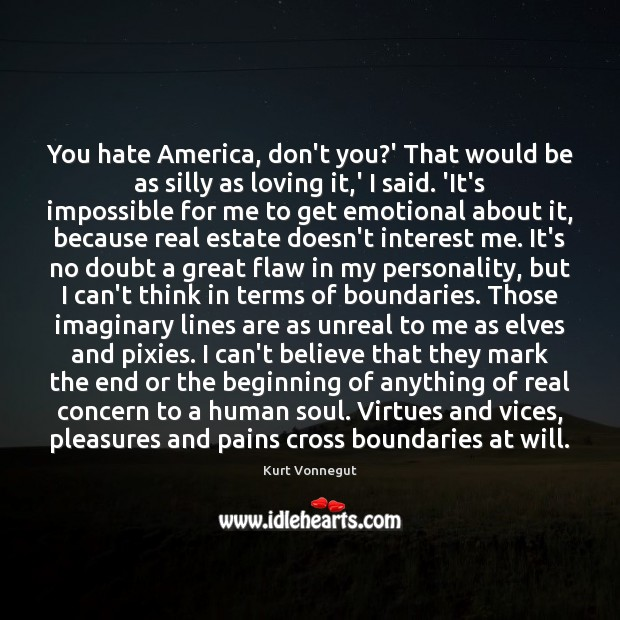 You hate America, don't you?' That would be as silly as Image