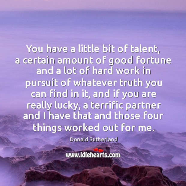 You have a little bit of talent, a certain amount of good fortune and a lot of Image