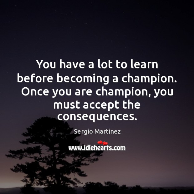 You have a lot to learn before becoming a champion. Once you Sergio Martinez Picture Quote