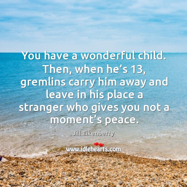 You have a wonderful child. Then, when he's 13, gremlins carry him away and leave in his Image