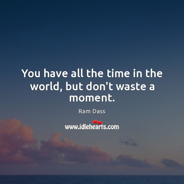 You have all the time in the world, but don't waste a moment. Ram Dass Picture Quote