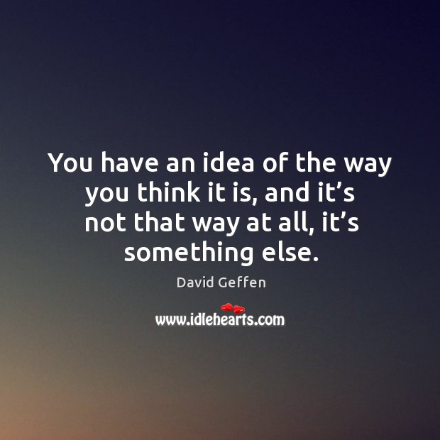 You have an idea of the way you think it is, and it's not that way at all, it's something else. David Geffen Picture Quote