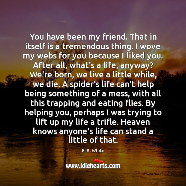 You have been my friend. That in itself is a tremendous thing. E. B. White Picture Quote