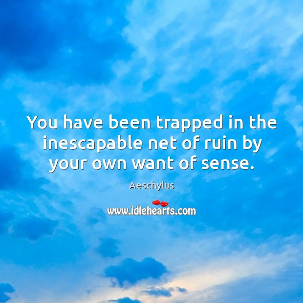 You have been trapped in the inescapable net of ruin by your own want of sense. Image