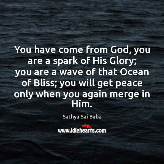 You have come from God, you are a spark of His Glory; Sathya Sai Baba Picture Quote