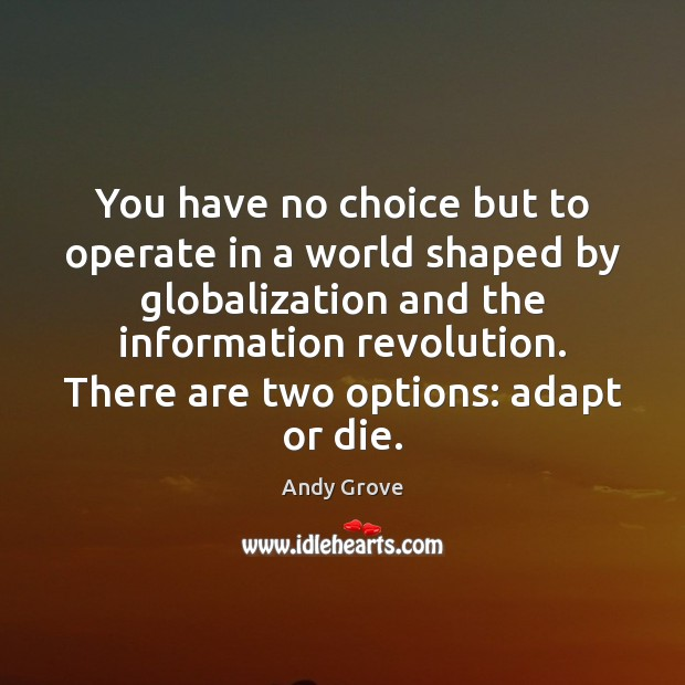 You have no choice but to operate in a world shaped by Andy Grove Picture Quote