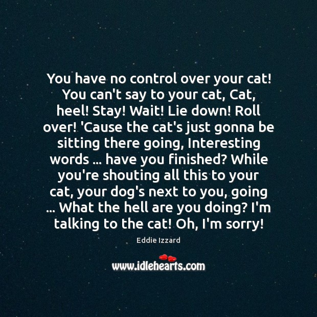 You have no control over your cat! You can't say to your Eddie Izzard Picture Quote