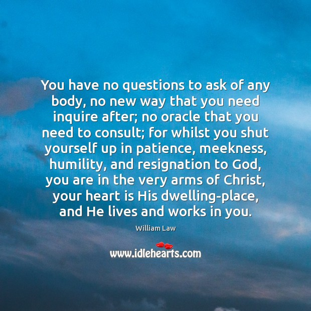 You have no questions to ask of any body, no new way William Law Picture Quote