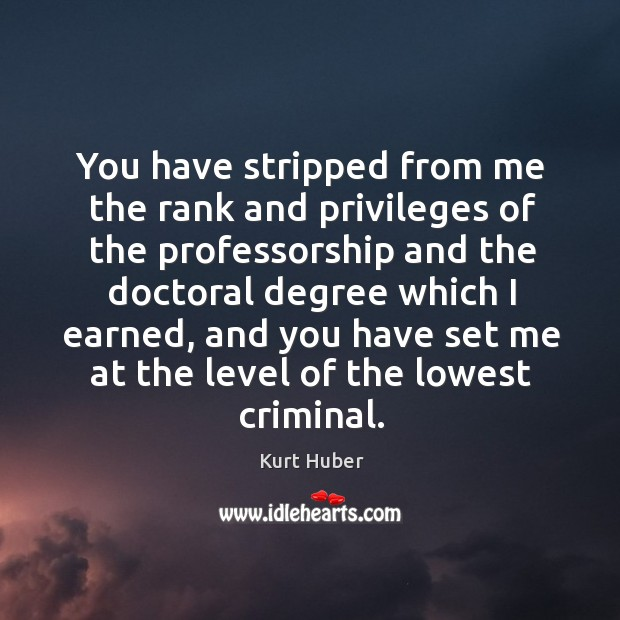 You have stripped from me the rank and privileges of the professorship and the doctoral Image