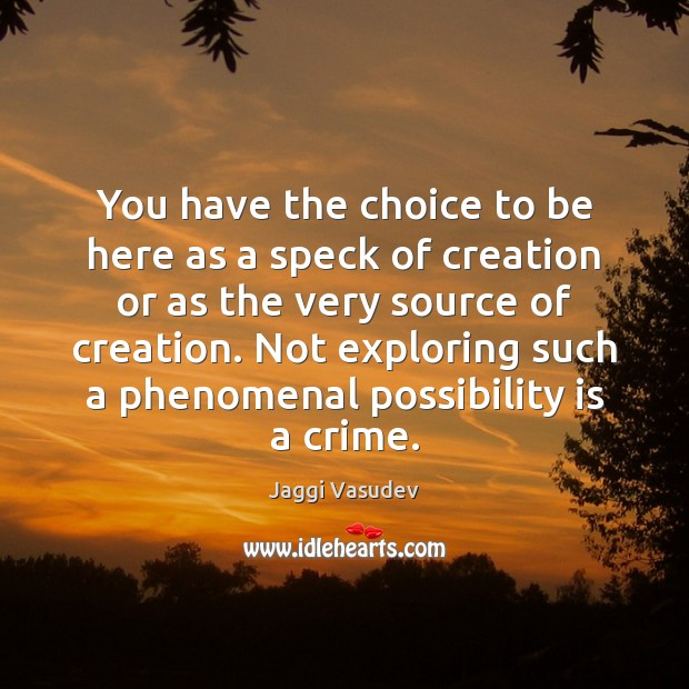 You have the choice to be here as a speck of creation Image