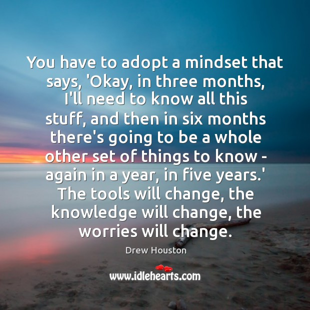 You have to adopt a mindset that says, 'Okay, in three months, Image