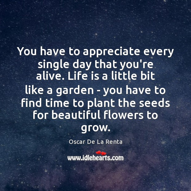 You have to appreciate every single day that you're alive. Life is Oscar De La Renta Picture Quote