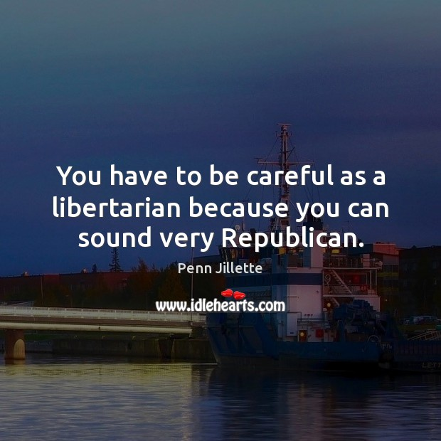 You have to be careful as a libertarian because you can sound very Republican. Image