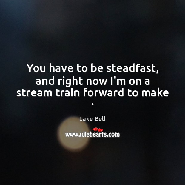 You have to be steadfast, and right now I'm on a stream train forward to make . Lake Bell Picture Quote
