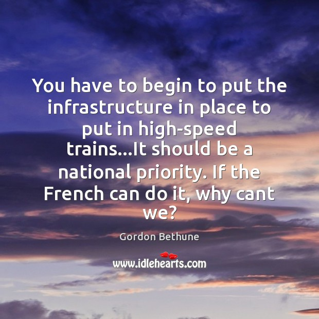 You have to begin to put the infrastructure in place to put Image