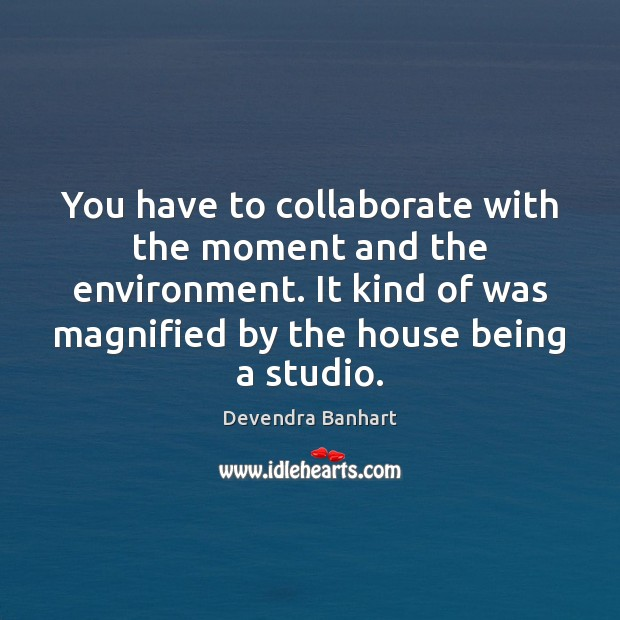 You have to collaborate with the moment and the environment. It kind Devendra Banhart Picture Quote
