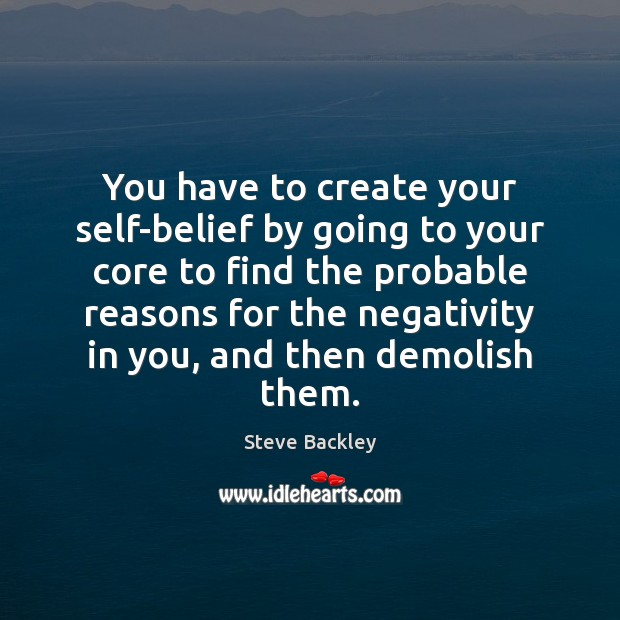 You have to create your self-belief by going to your core to Image