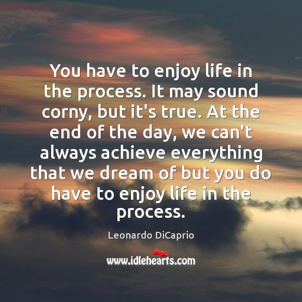 You have to enjoy life in the process. It may sound corny, Leonardo DiCaprio Picture Quote