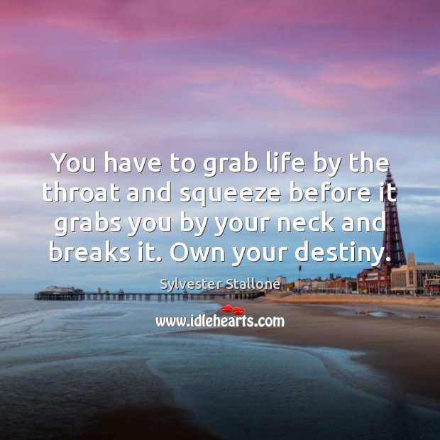 You have to grab life by the throat and squeeze before it Sylvester Stallone Picture Quote
