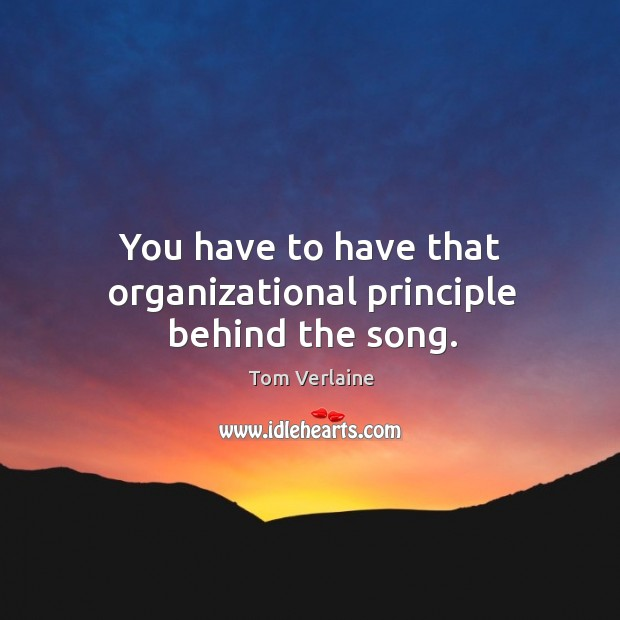 You have to have that organizational principle behind the song. Tom Verlaine Picture Quote