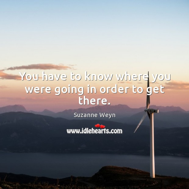 You have to know where you were going in order to get there. Image