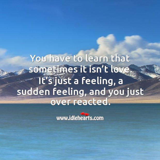 You have to learn that sometimes it isn't love. It's just a feeling, a sudden feeling, and you just over reacted. Image