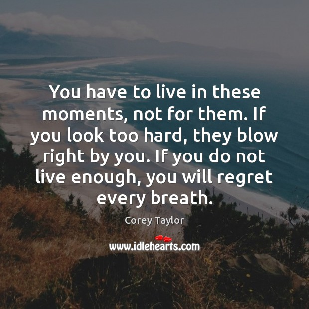 You have to live in these moments, not for them. If you Corey Taylor Picture Quote