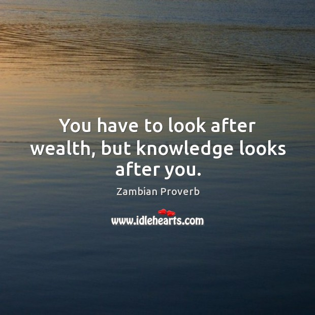 You have to look after wealth, but knowledge looks after you. Zambian Proverbs Image