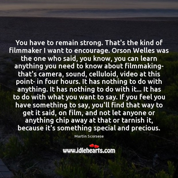 You have to remain strong. That's the kind of filmmaker I want Martin Scorsese Picture Quote