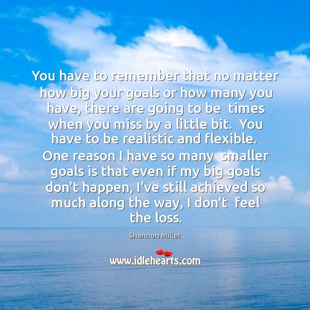 You have to remember that no matter how big your goals or Shannon Miller Picture Quote