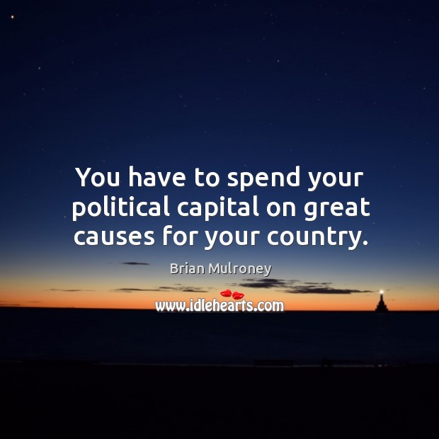 You have to spend your political capital on great causes for your country. Image