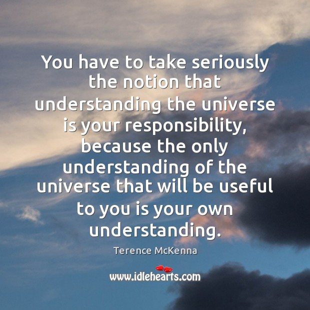 You have to take seriously the notion that understanding the universe is Image