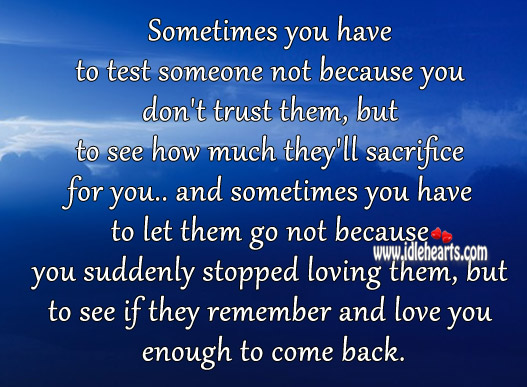 Sometimes You Have To Test Someone Not Because You Don T Trust Idlehearts