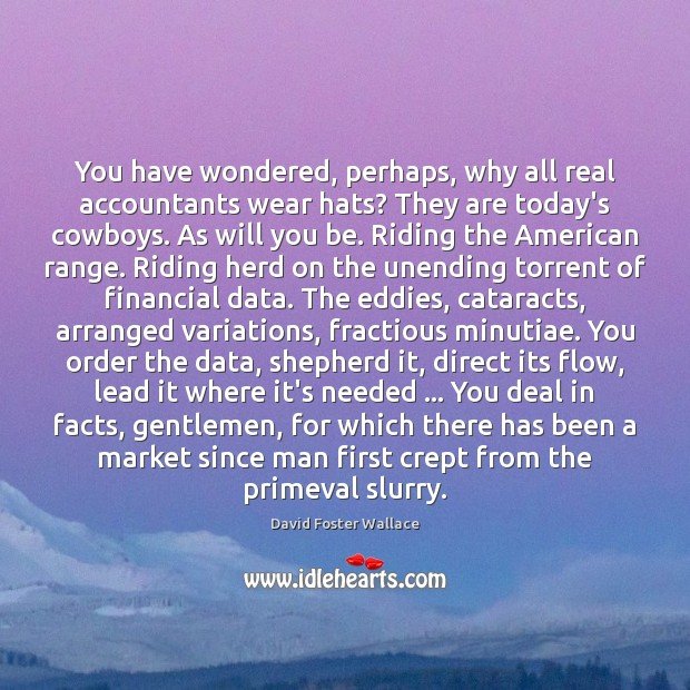 You have wondered, perhaps, why all real accountants wear hats? They are David Foster Wallace Picture Quote