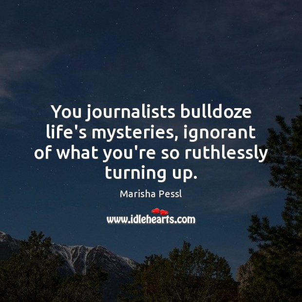You journalists bulldoze life's mysteries, ignorant of what you're so ruthlessly turning Image