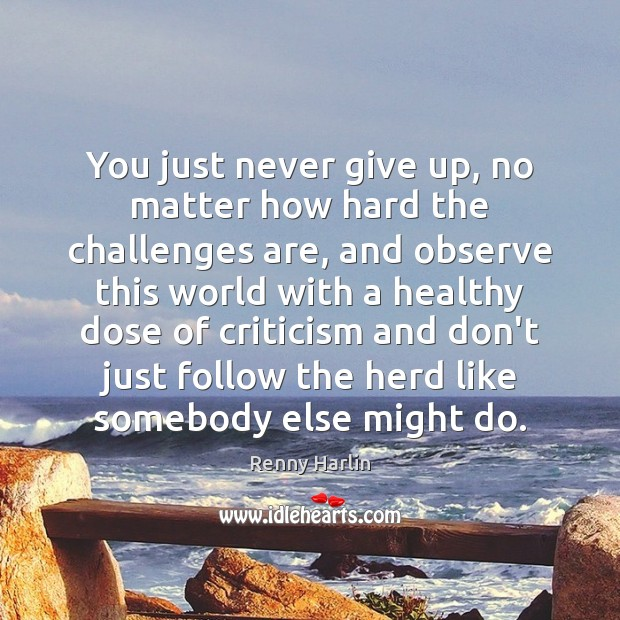 You just never give up, no matter how hard the challenges are, Renny Harlin Picture Quote