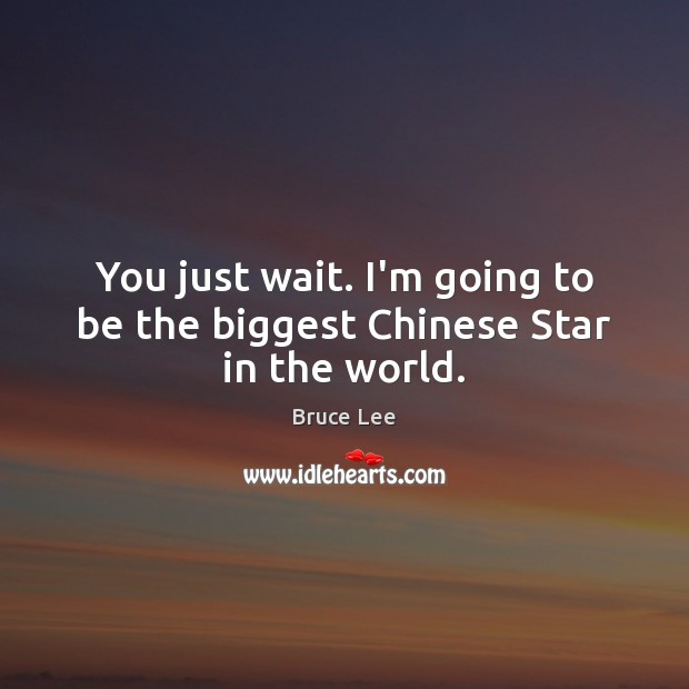 You just wait. I'm going to be the biggest Chinese Star in the world. Bruce Lee Picture Quote