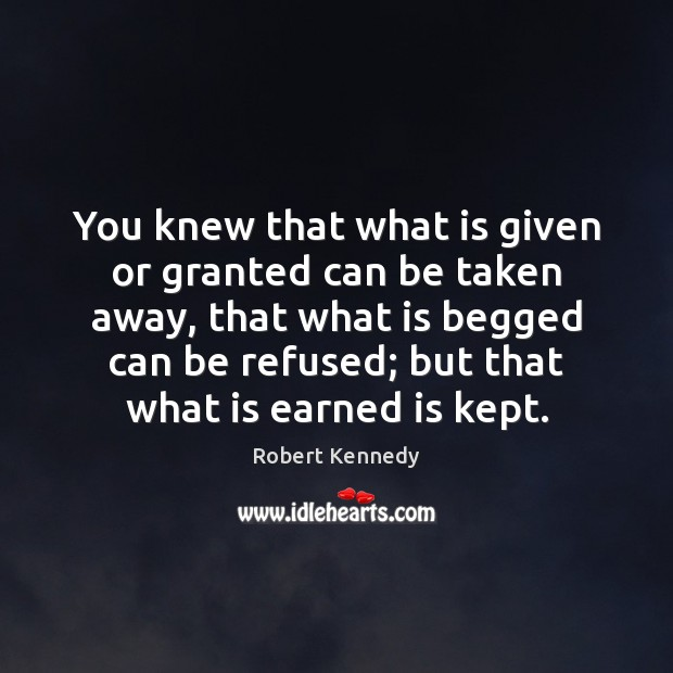 You knew that what is given or granted can be taken away, Image