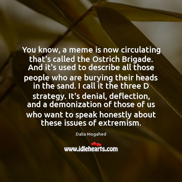 You know, a meme is now circulating that's called the Ostrich Brigade. Image