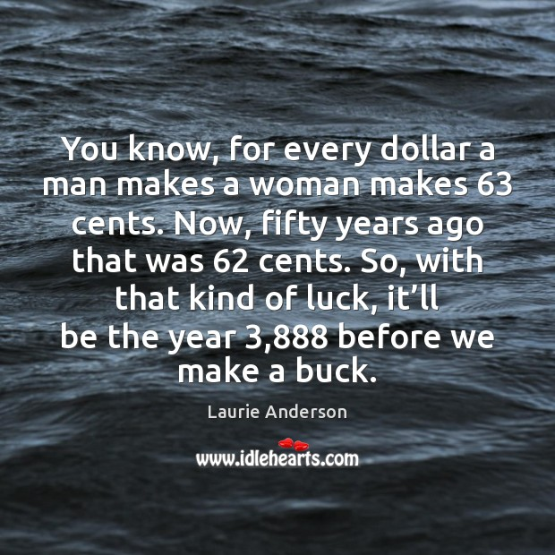 You know, for every dollar a man makes a woman makes 63 cents. Laurie Anderson Picture Quote