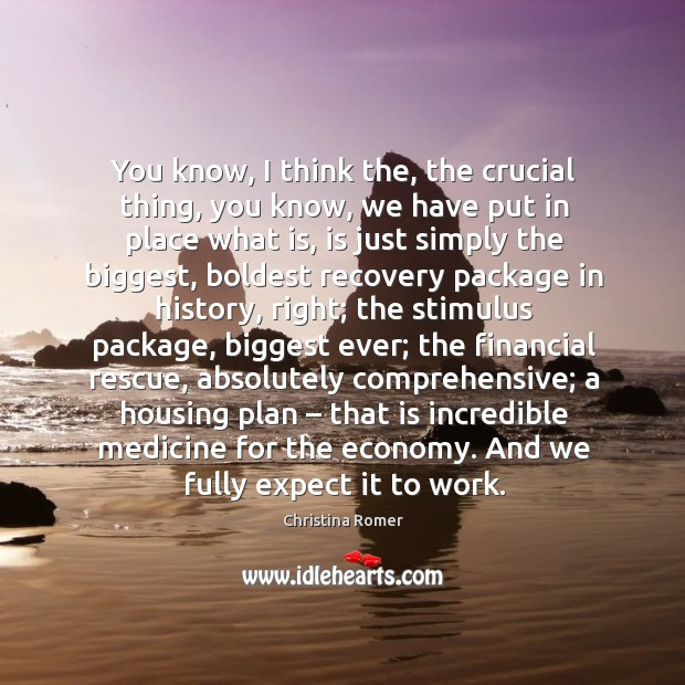 You know, I think the, the crucial thing, you know, we have put in place what is, is just simply the biggest Christina Romer Picture Quote