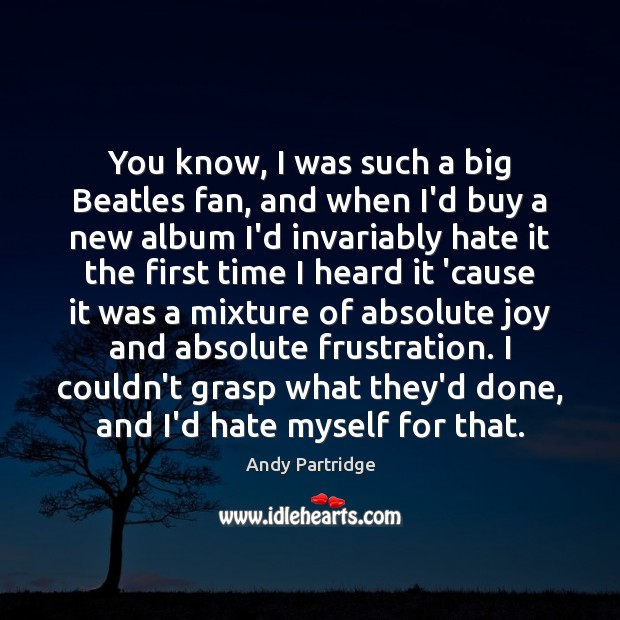 You know, I was such a big Beatles fan, and when I'd Andy Partridge Picture Quote