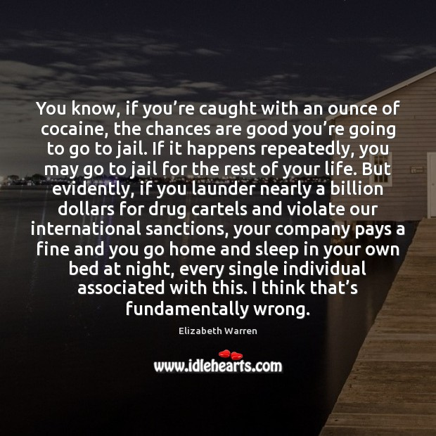 You know, if you're caught with an ounce of cocaine, the Elizabeth Warren Picture Quote