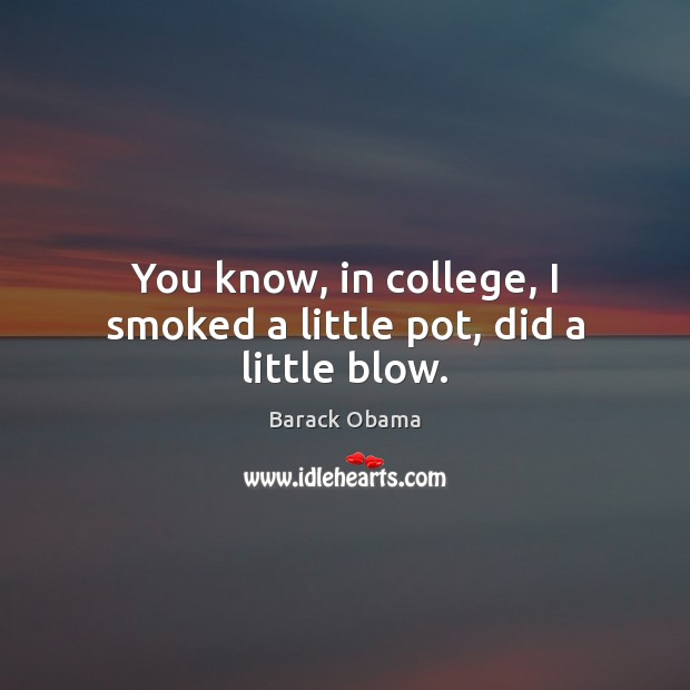 You know, in college, I smoked a little pot, did a little blow. Image