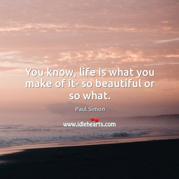 Image, You know, life is what you make of it- so beautiful or so what.