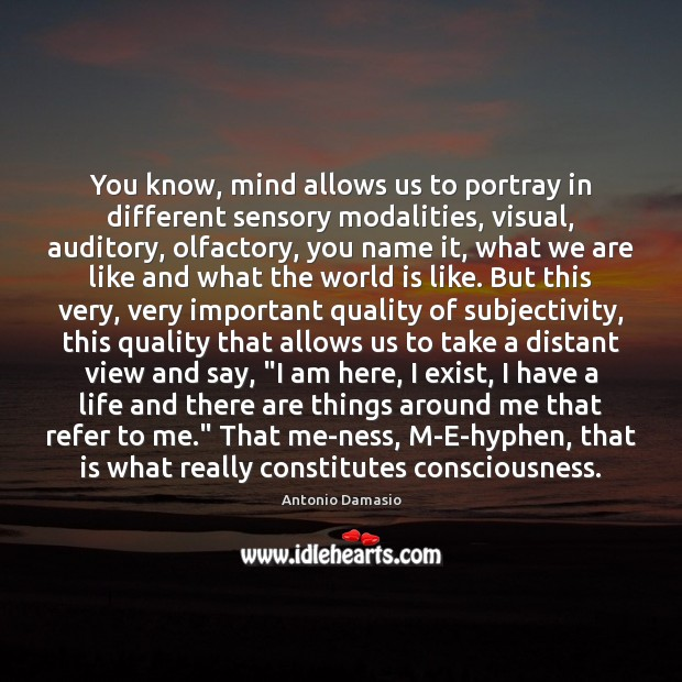 You know, mind allows us to portray in different sensory modalities, visual, Image